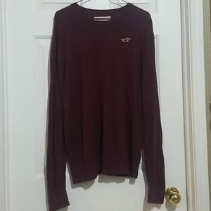 Hollister Maroon Logo Crew Neck Sweater